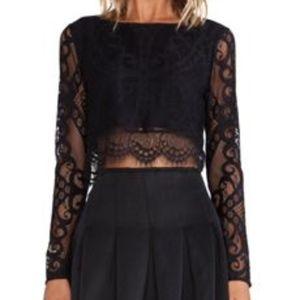 Lovers & Friends Black Lace Long Sleeve Crop